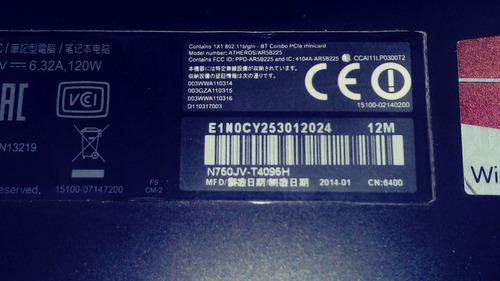 asus n750jv-t4095h 17 pulgadas, intel i7 4th generación
