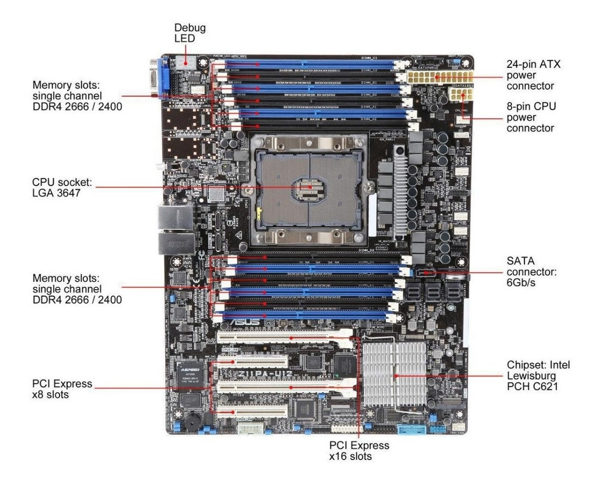 Asus Z11pa-u12 Atx Server Motherboard Single Lga 3647 Intel