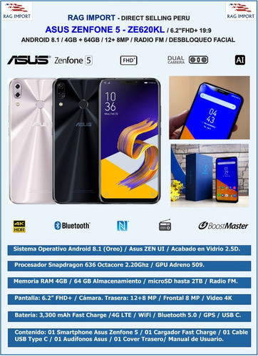 asus zenfone 5 / 4gb + 64gb / 12+8mp / 6.2  fhd mercado pago
