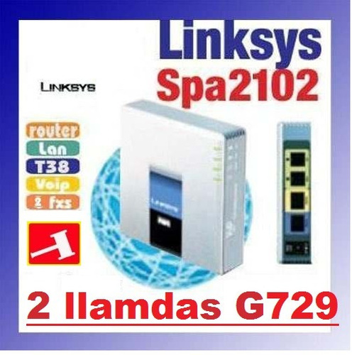 ata voip sip linksys spa 2102 x 2 llam g729+router pc spa112
