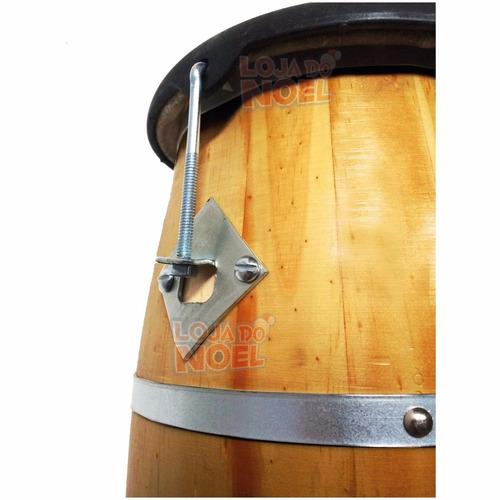 atabaque 60 cm c/ afinação tarraxa - madeira clara e couro