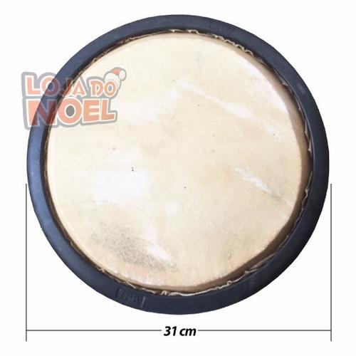 atabaque 90 cm c/ afinação tarraxa madeira clara, couro e nf