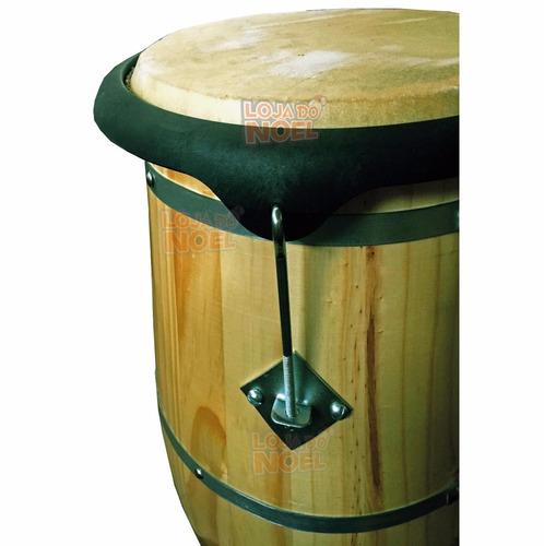 atabaque 90 cm c/ suporte quadrado afinação tarraxa madeira