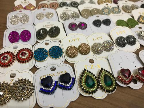 atacado 30 brincos strass botões  bijuterias  finas