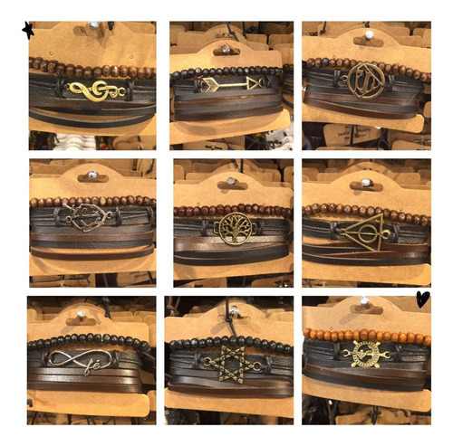 atacado 30 pulseiras masculina couro  promoção 10 conjunto