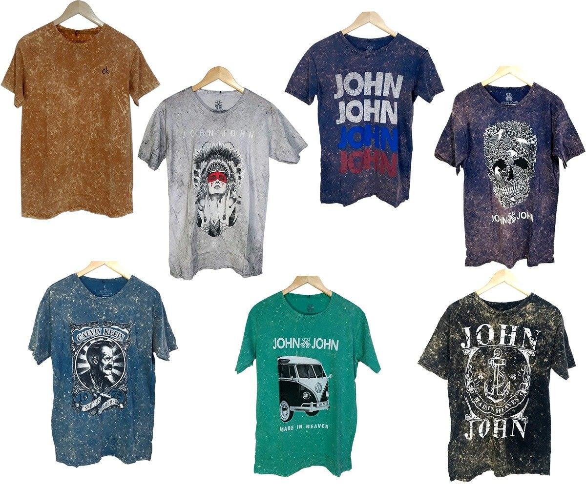 Atacado 5 Camiseta Camisa Masculina Lavada Marca Top Atacado - R  133 b56a9fb98ba43