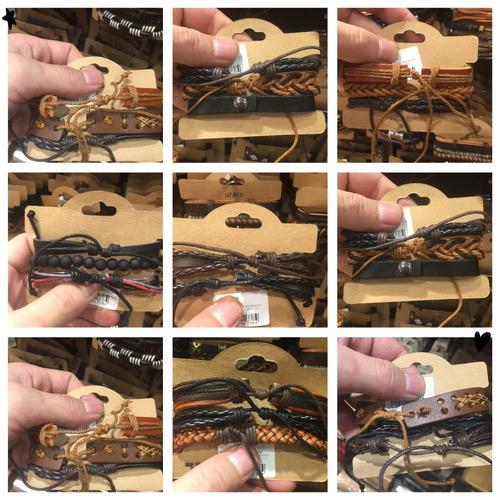 atacado 75 pulseiras masculina couro revenda 25 conjunto