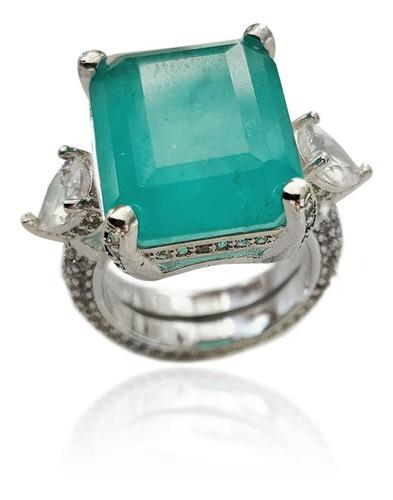 atacado anel largo pedra verde fusion cravejado andreza mota