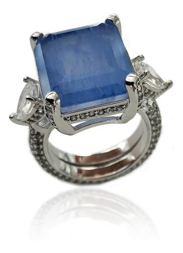 atacado anel pedra azul fusion cravejado 15 andreza mota