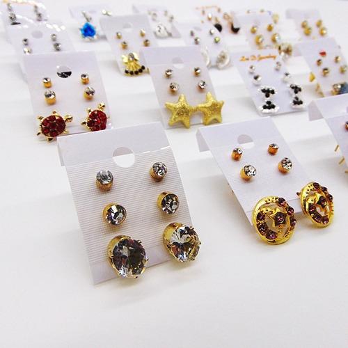 atacado bijuteria kit c/50 pares de brincos pequenos revend