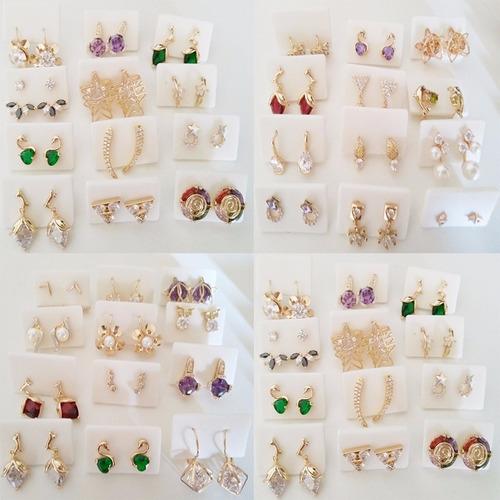 atacado de brincos semi-jóias folheados -10 pares