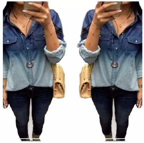 atacado kit 10 camisa blusa feminina jeans casual degrade