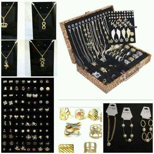 atacado kit 57 pçs semi-jóias folheadas + maleta