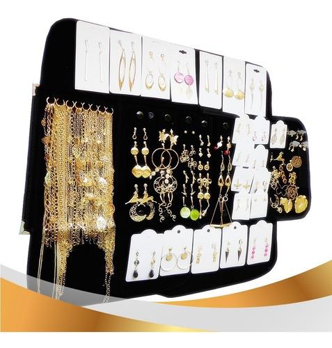 atacado kit completo 72 pçs semi joias folheadas prata ou folheado a ouro ou misto vc escolhe grátis o mostruario veludo