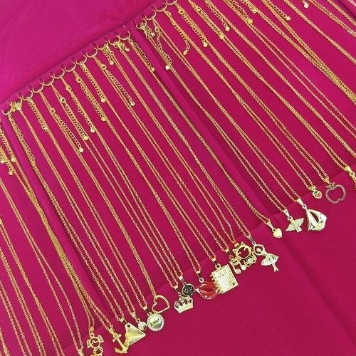 atacado kit folheados 20 colares + 20 pulseiras + mostruário