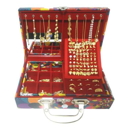 atacado kit semi joias 50 peças maleta porta joias espelho