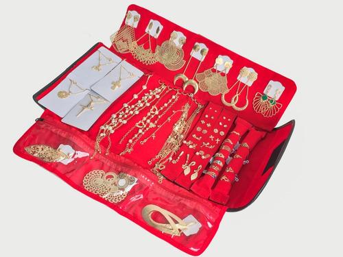 atacado kit semi joias folheado 100 peças+ mostruário grátis