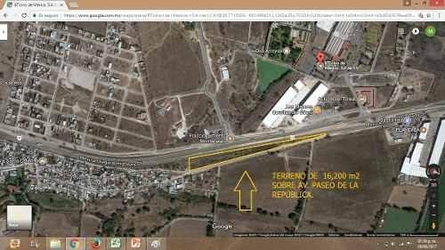atención inversionistas venta de terreno sobre paseo de la republica , 16,200 mt