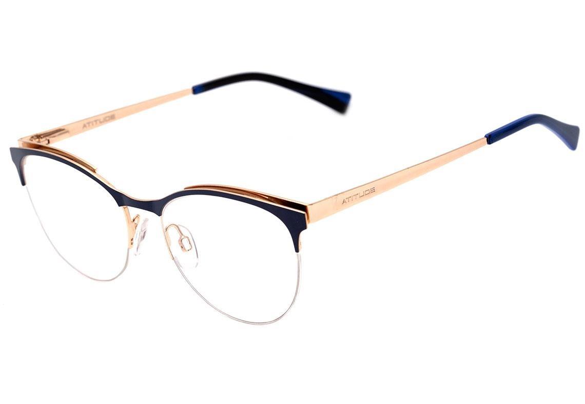 d3bf55357 atitude at 1633 - óculos de grau 06a azul e dourado brilho. Carregando zoom.