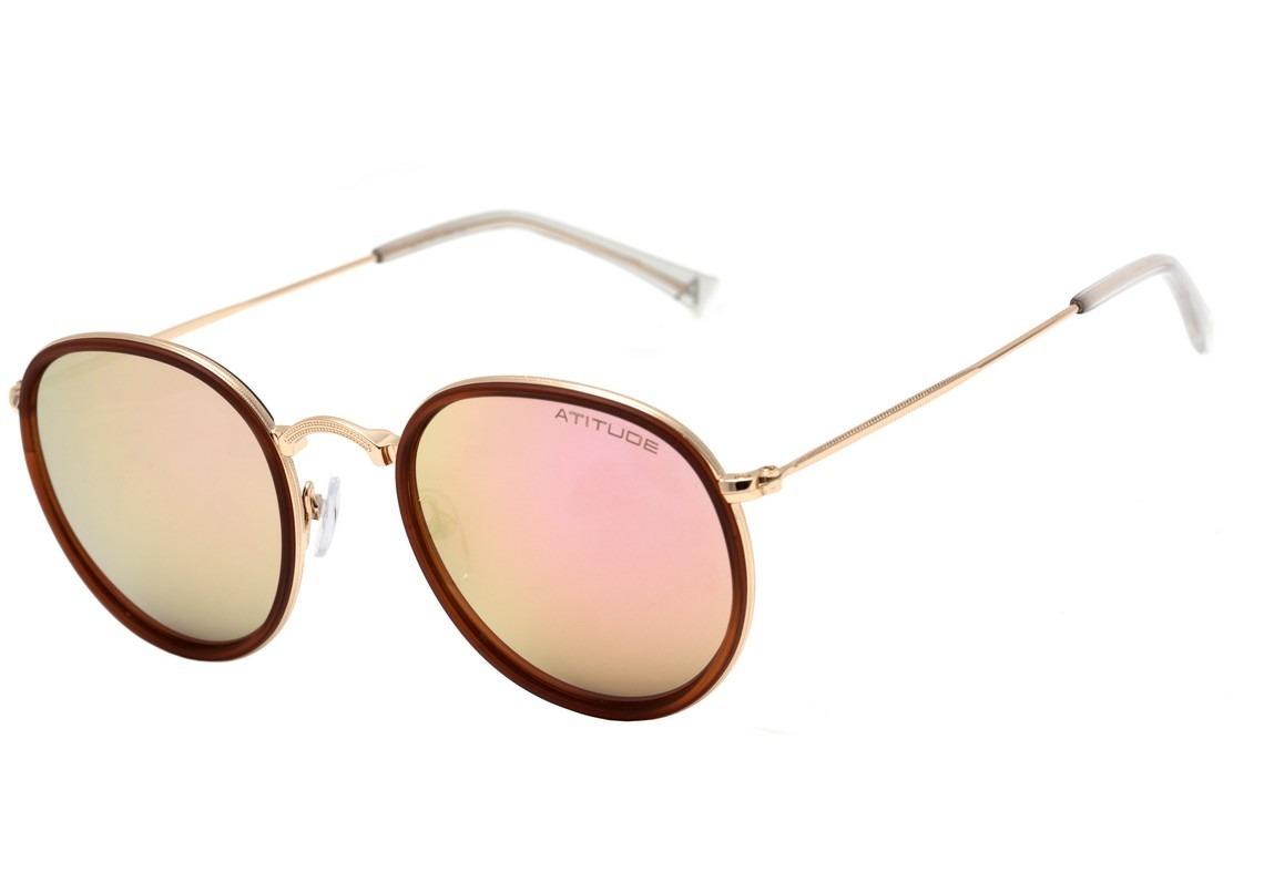Atitude At 3192 - Óculos De Sol 04a Marrom E Dourado - R  189,00 em ... e758c47356