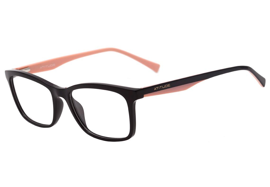18b264b06 Atitude At 4124 - Óculos De Grau A01 Preto E Rosa Brilho - - R$ 289 ...