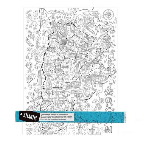 atlantis mapa gigante para colorear - giro didáctico