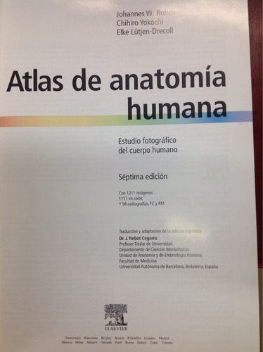 atlas de anatomía humana. rohen. yokochi