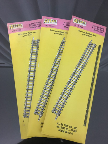 atlas ho scale 6 sections 9  straight track 21 (pack de 3)