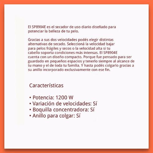 atma sp8904m secador de cabello compacto 1200w 2 velocidades