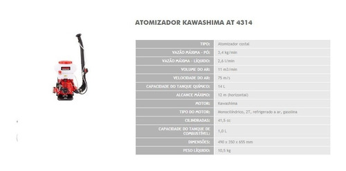 atomizador pulverizador costal kawashima at-4314