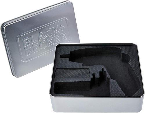 atornillador black + decker 4.8v 15 puntas + estuche metal