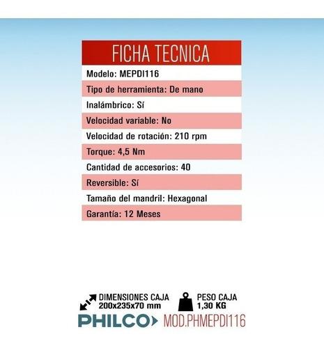 atornillador destornillador inalambrico philco 3.6v + puntas