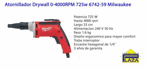 atornillador drywall 0-4000rpm 725w 6742-59 milwaukee