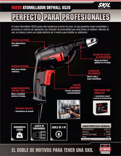 atornillador yeso drywall skil 6520 520w ajuste profundidad