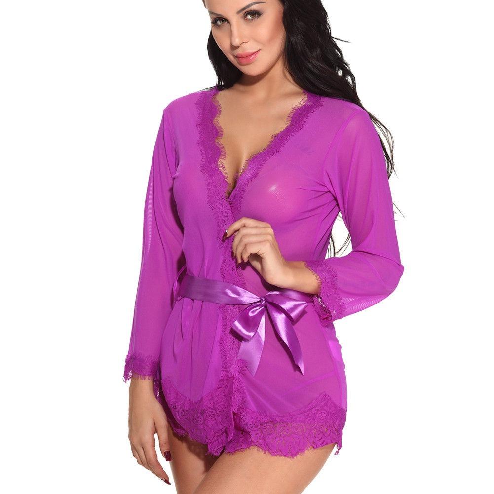 Atractiva Íntimo Ropa De Noche Camisa Traje... (m, Purple ...