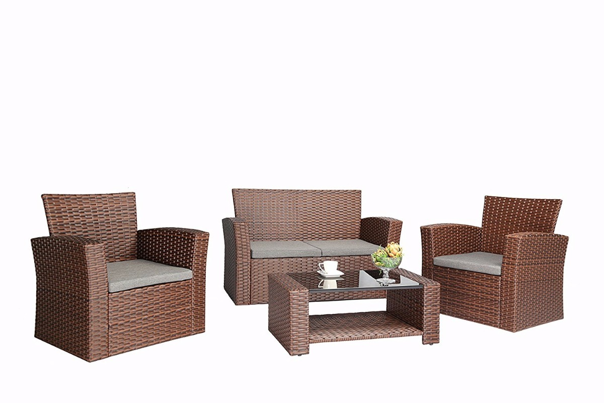 Atractiva sala muebles de jard n 4 pz de rattan sint tico 16 en mercado libre - Muebles de rattan sintetico ...