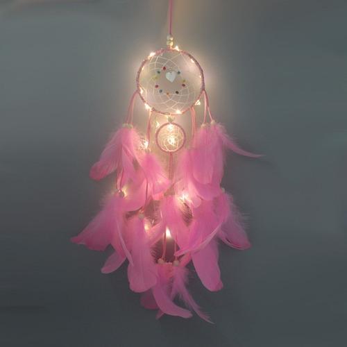 atrapasueños de plumas con luz led portátil