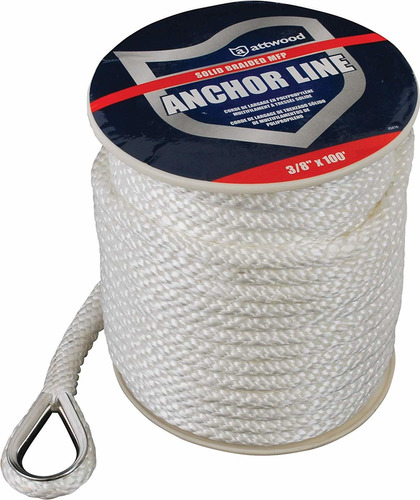 attwood solid braid mfp anchor line with thimble (white,