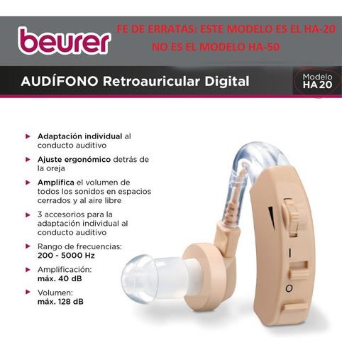 audifono amplificador beurer importado ha50 hipoacusico oido