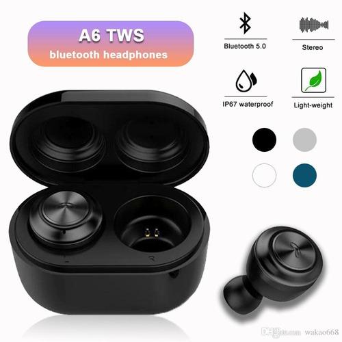 audífono bluetooth 5.0 a6-tws manos libres + base magnética