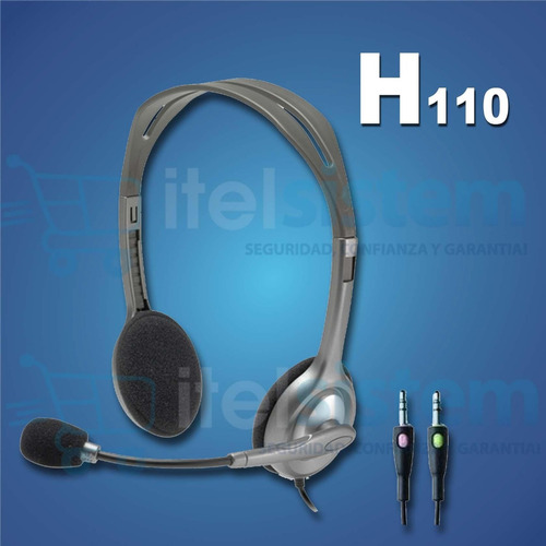 audifono con microfono logitech h110 silver itelsistem