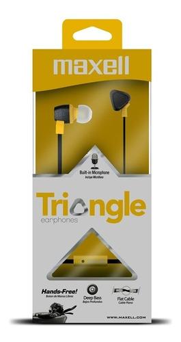 audifono con microfono maxell triangle amarillo nuevo