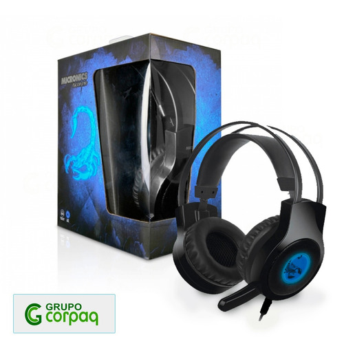 audifono gamer micronics scorpio led azul pc, smartphone mp3