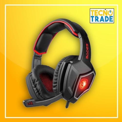 audifono gamer sades r9 luz led incluye iva y garantía.