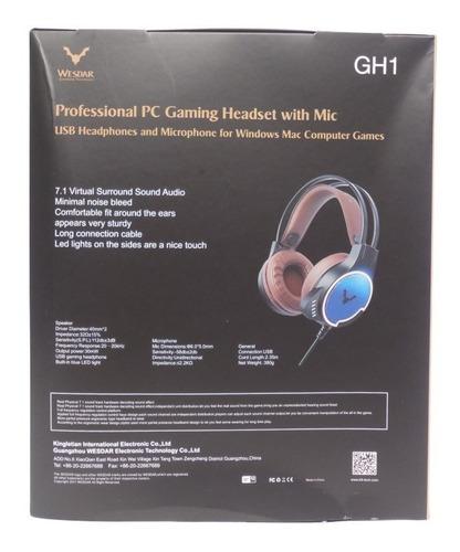 audífono gamer usb 7.1, surround - wesdar gh1