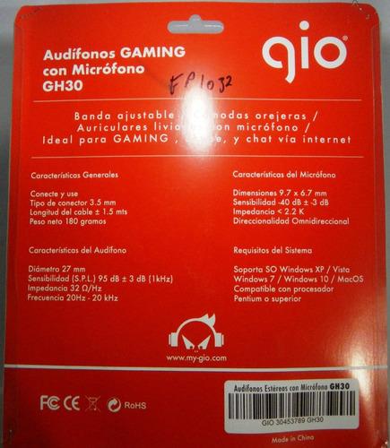 audifono gh30 gio gamers pc laptop doble plug computadora