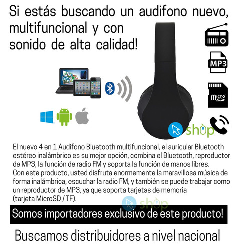 audifono inalambrico bluetooth radio fm mp3 micro sd  4en1