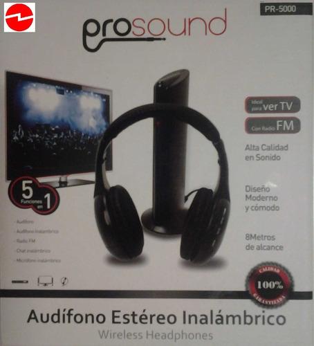 audifono inalambrico prosound pr-5000 para tv con radio fm