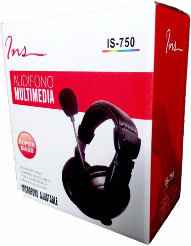 audifono para pc laptop con microfono de cuero marca ins