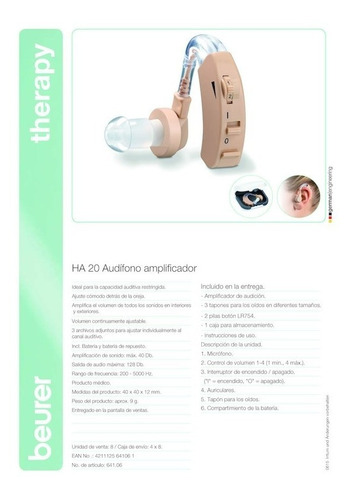 audífono problemas auditivos amplificador sonido ha20 beurer